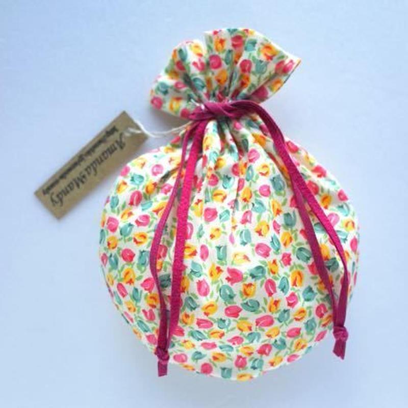 リバティキャンディ巾着・チューリップ小・イエローピンク