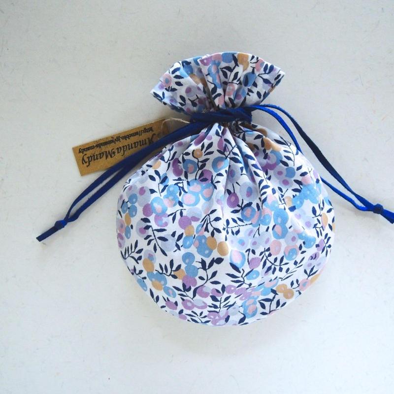 リバティキャンディ巾着・ウィルトシャー・ペールパープルブルー