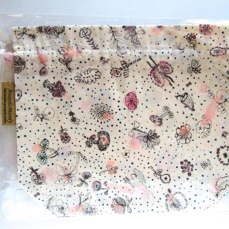 リバティトラベル巾着 メモリーズオブレイン ピンク