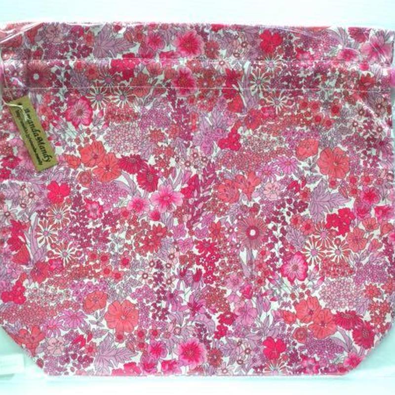 リバティトラベル巾着・マーガレットアニー・ピンク単色