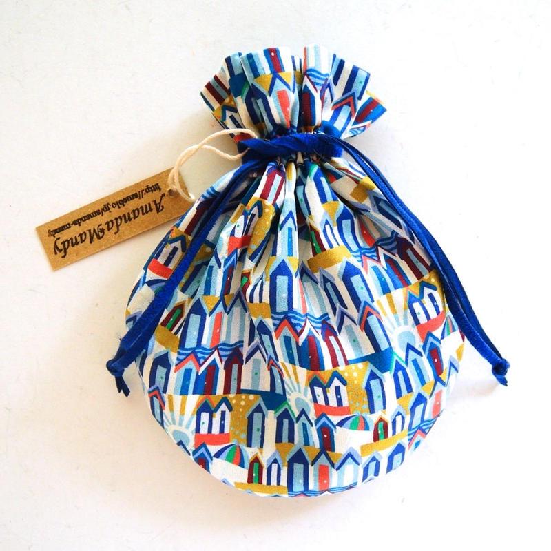 キャンディ巾着・リバティ・ビーチハッツ(ブルー)(お客様レビューあり)