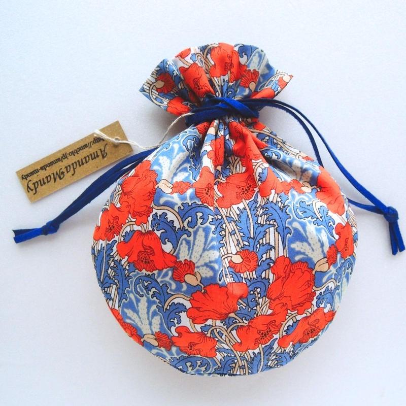 リバティキャンディ巾着・クレメンティナ・オレンジブルー