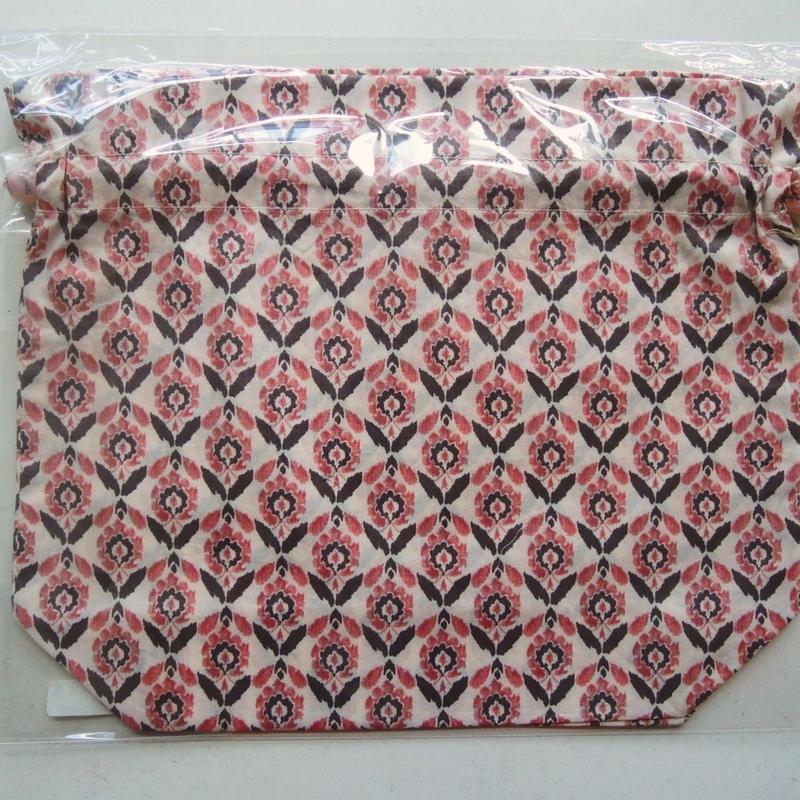 リバティトラベル巾着 ベイオール ピンク&ブラウン
