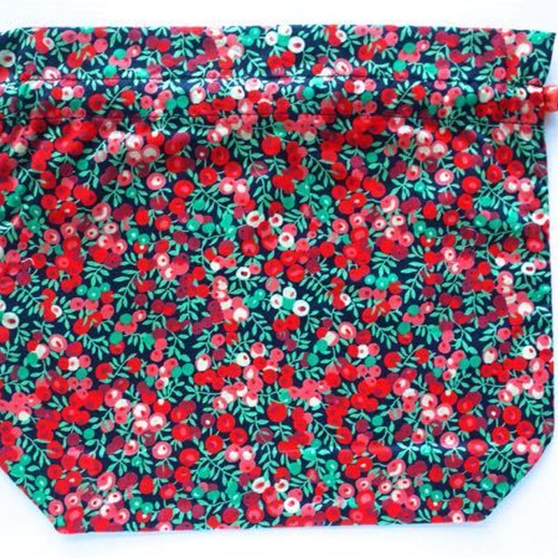 リバティトラベル巾着・ウィルトシャー・レッド(お客様レビューあり)
