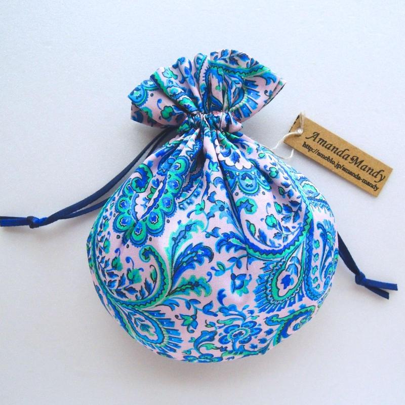 リバティキャンディ巾着・リーズル・ピンク