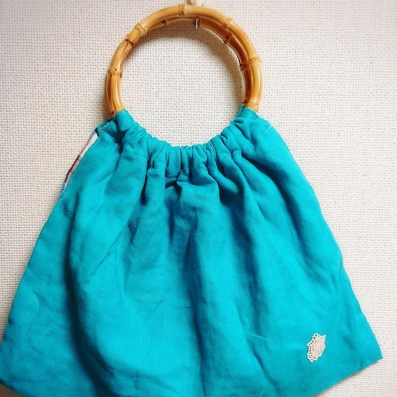 ターコイズリネンのバッグ【No.180803B】
