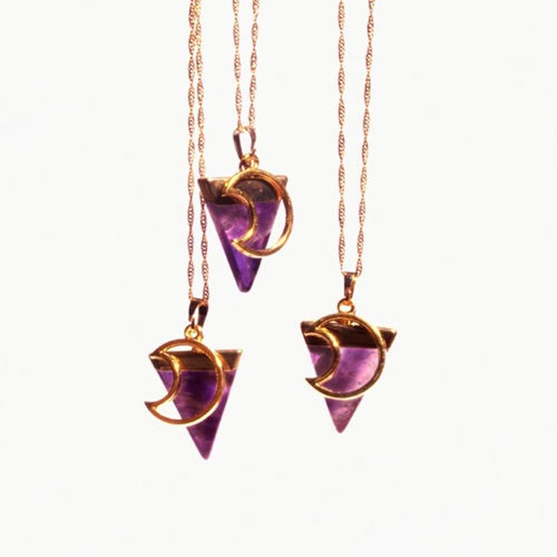 《Crystal Cactus》LA Luna Amethyst Triangleネックレス