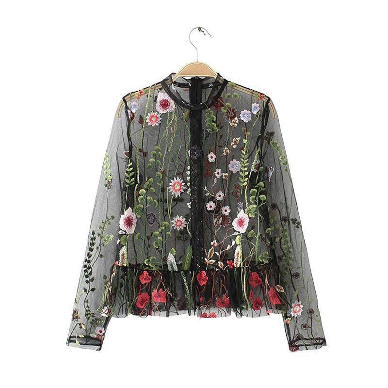 Floral Mesh刺繍トップス