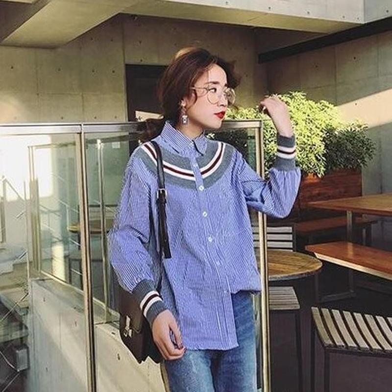 ステッチ ストライプ 長袖 カジュアル ボタンダウンシャツ