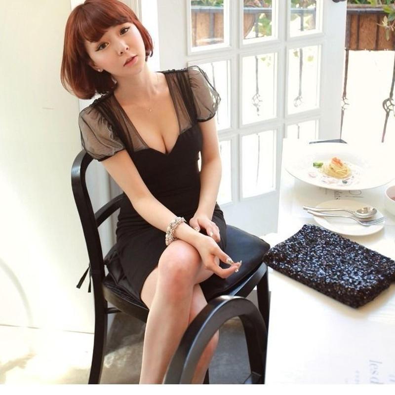 パフスリーブ 透かしチュールワンピース 韓国ファッション