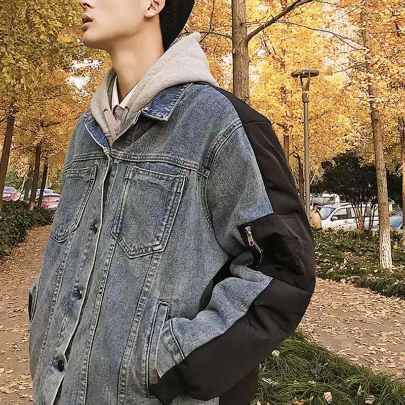 【大人気】デニムパッチワークボンバージャケット 2カラー