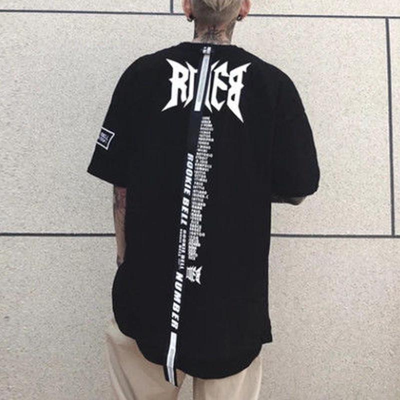 【大人気】ロング紐付きRIEBデザインTシャツ 2カラー