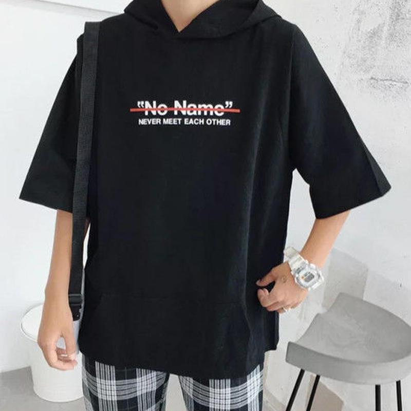 [HOT]No NameデザインフードTシャツ 3カラー