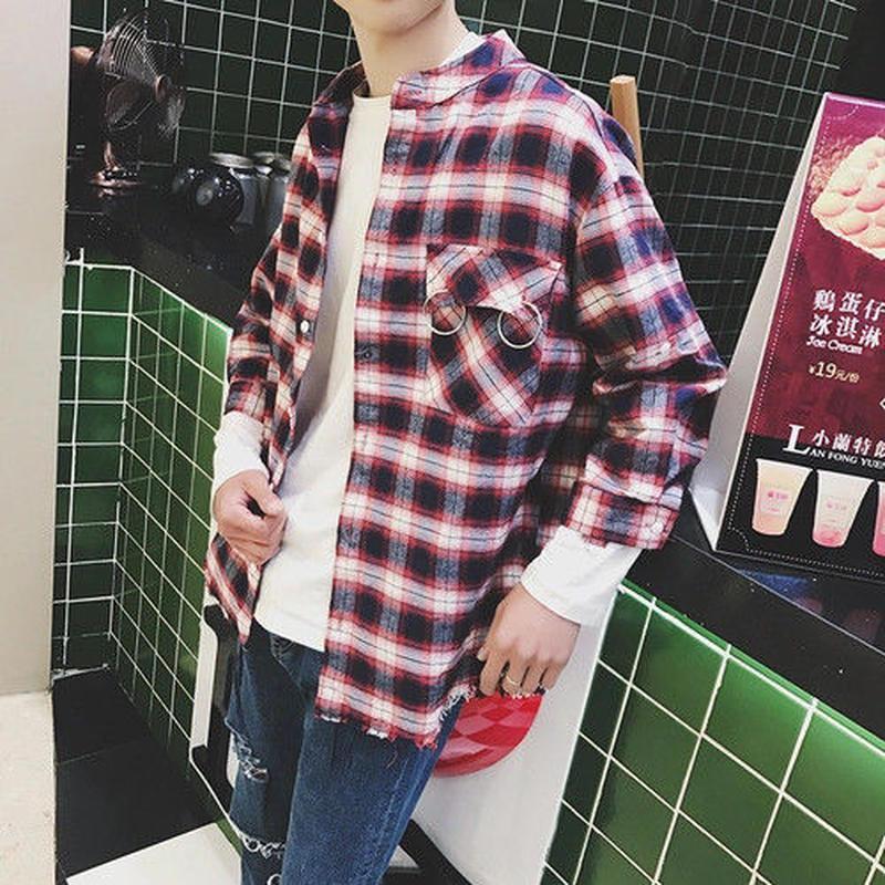 [大人気]リング付きフランネルシャツ 2カラー