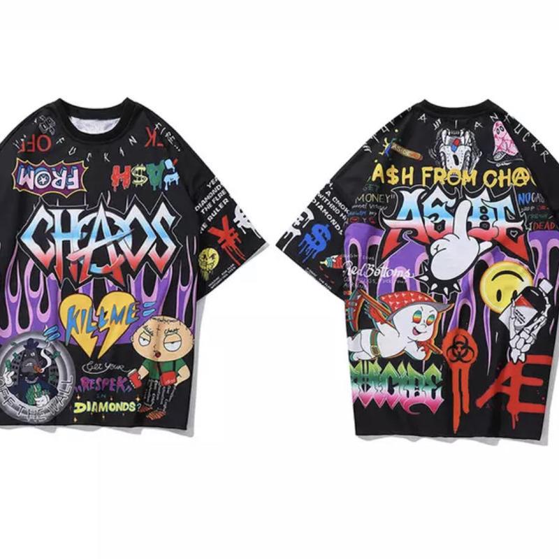 【売れ筋】奇抜カラフルデザインTシャツ 2カラー