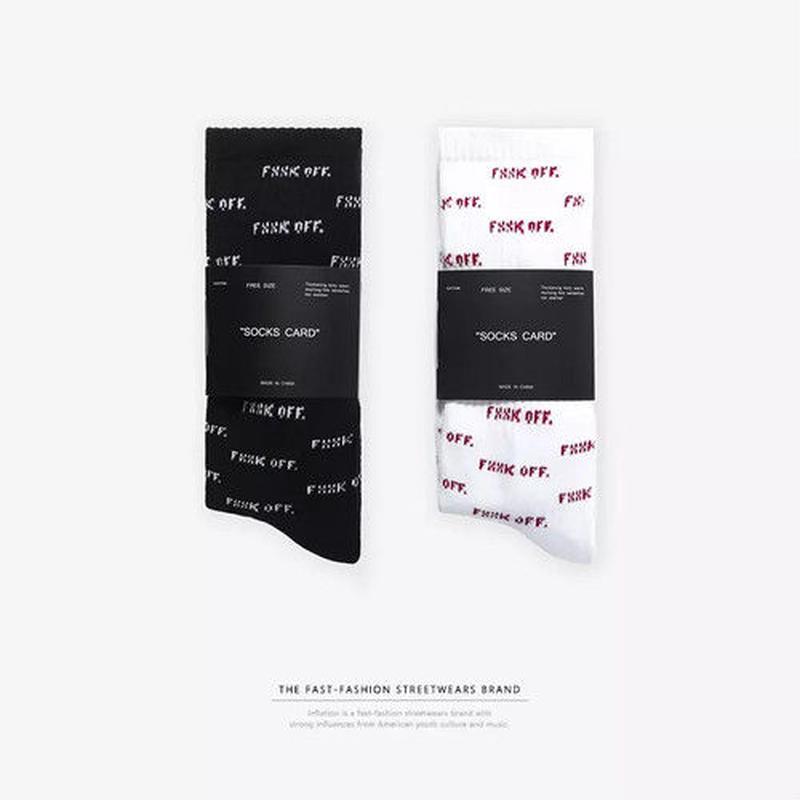 【売り切れ間近】FXXK OFFデザインソックス 2カラー