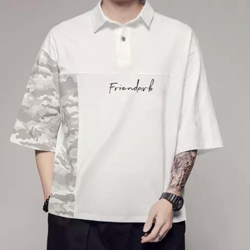 【COOL】Friendバイカラーデザインポロシャツ 2カラー