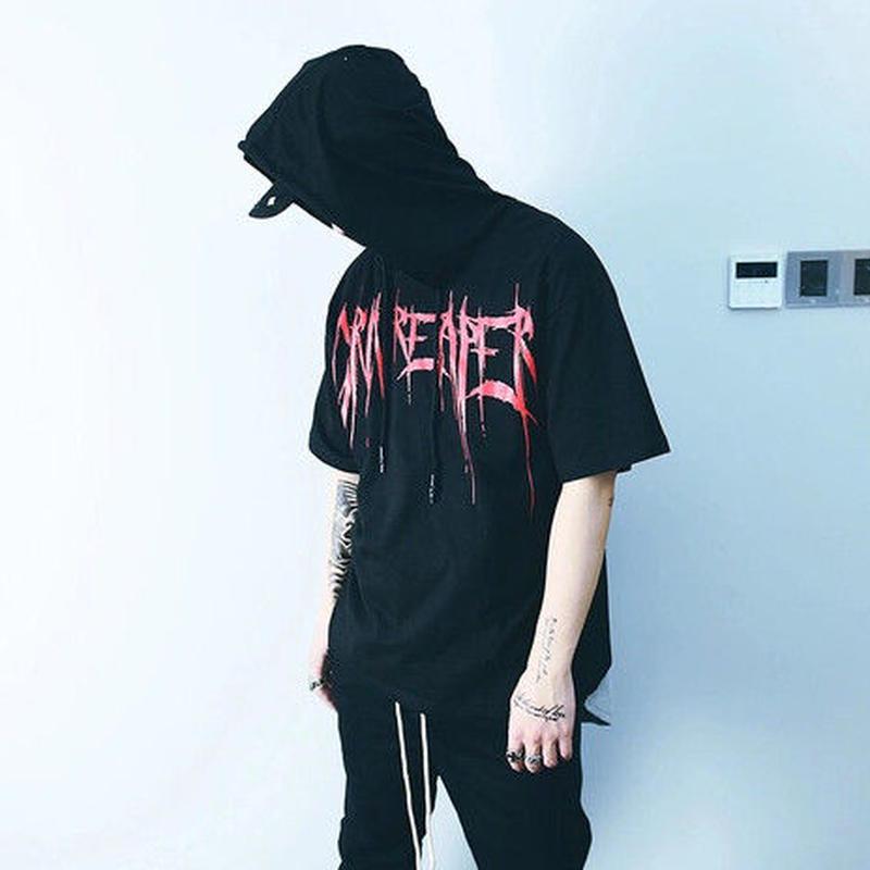 [HOT]フードデザインストリートTシャツ 2カラー