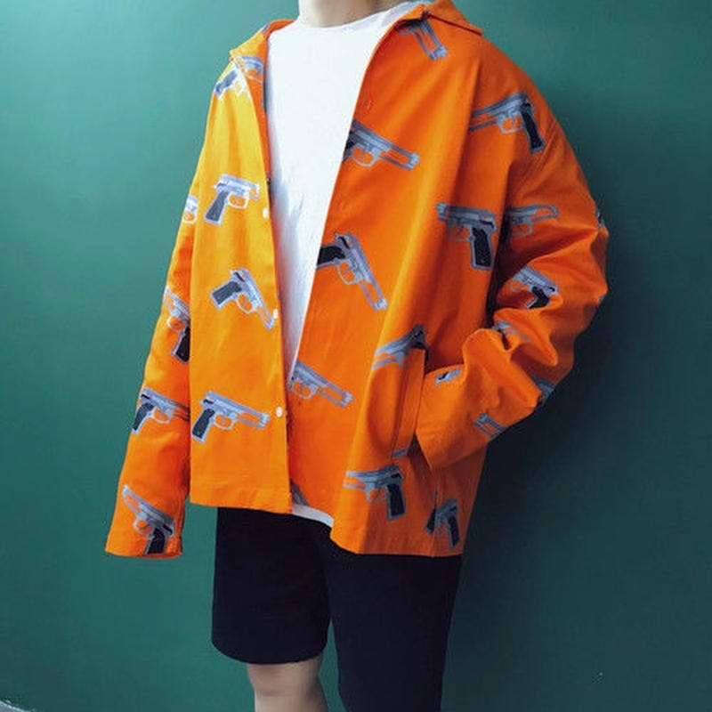 【大人気】ガンデザインシャツ風ジャケット 2カラー