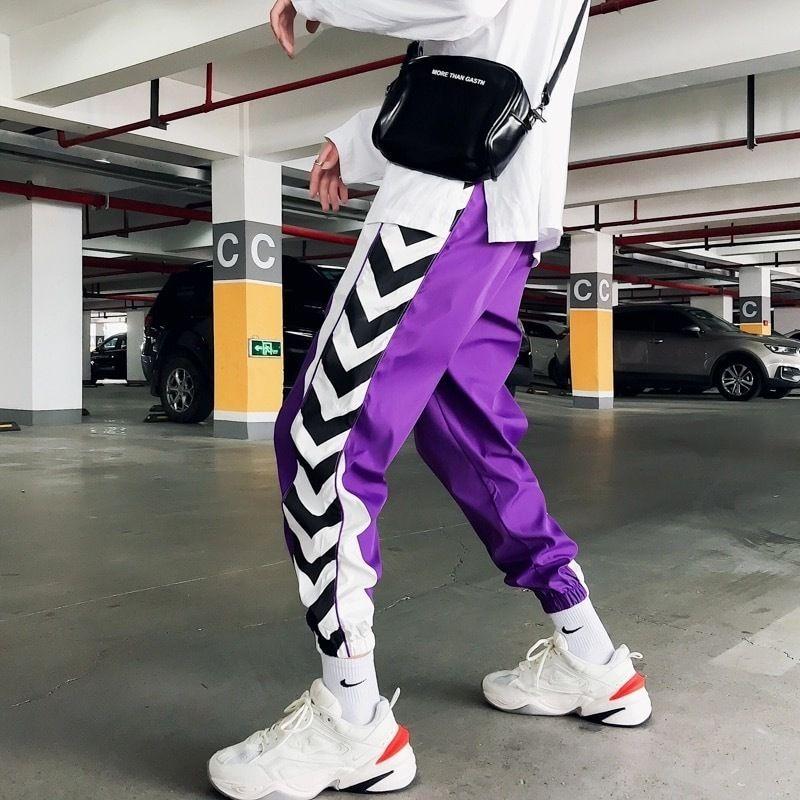 【ストリート】モノクロアーチラインデザインラフパンツ 2カラー