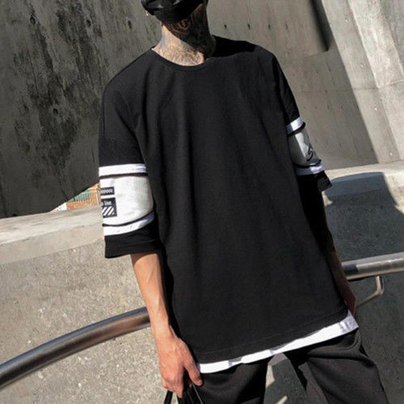 [HOT]シンプルデザイン7部丈ビックサイズTシャツ 2カラー