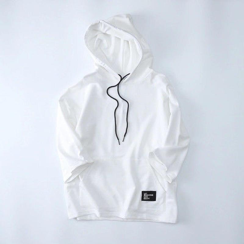 [TREND]フード半袖ビックサイズTシャツ 2カラー