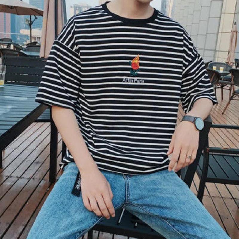 [HOT]ボーダーファイアーローズデザインTシャツ 2カラー