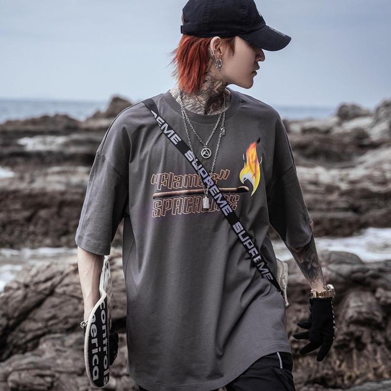 【HOT】FLAMESデザインTシャツ 3カラー
