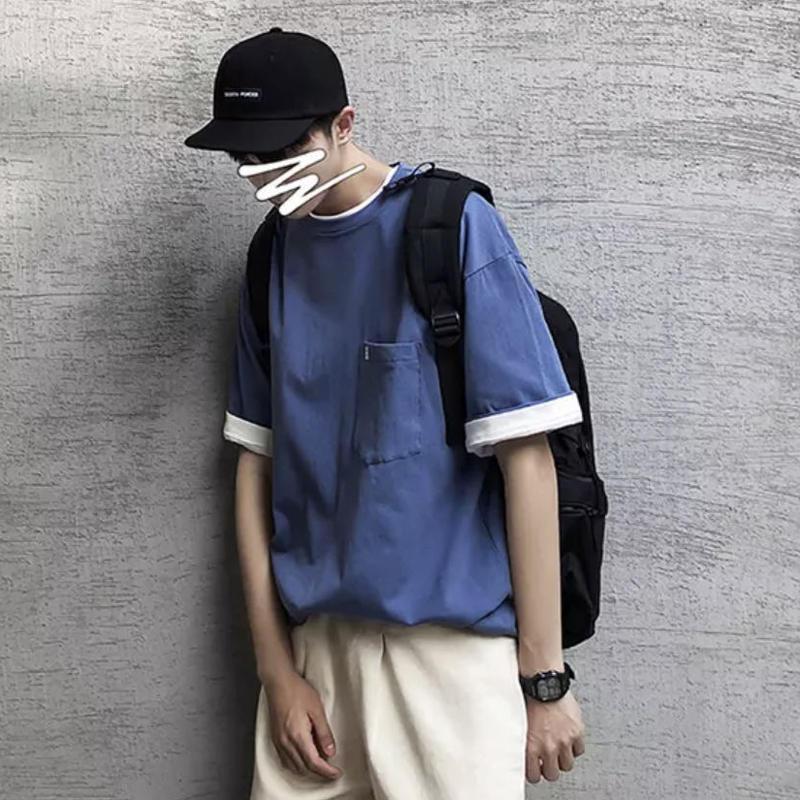 【HOT】刺繍ポケットデザインTシャツ 3カラー