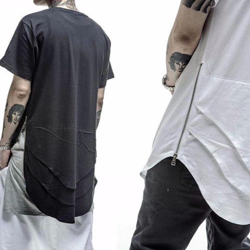 [HOT]段々デザインロング丈Tシャツ 3カラー