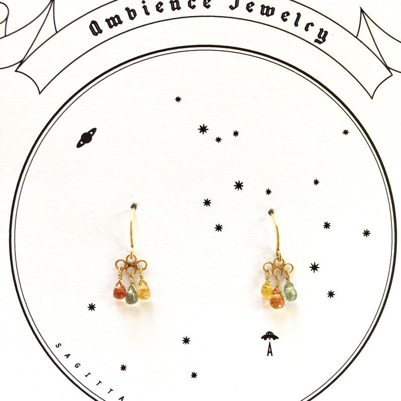 3 tear drops sapphire / 18ct gold pierce