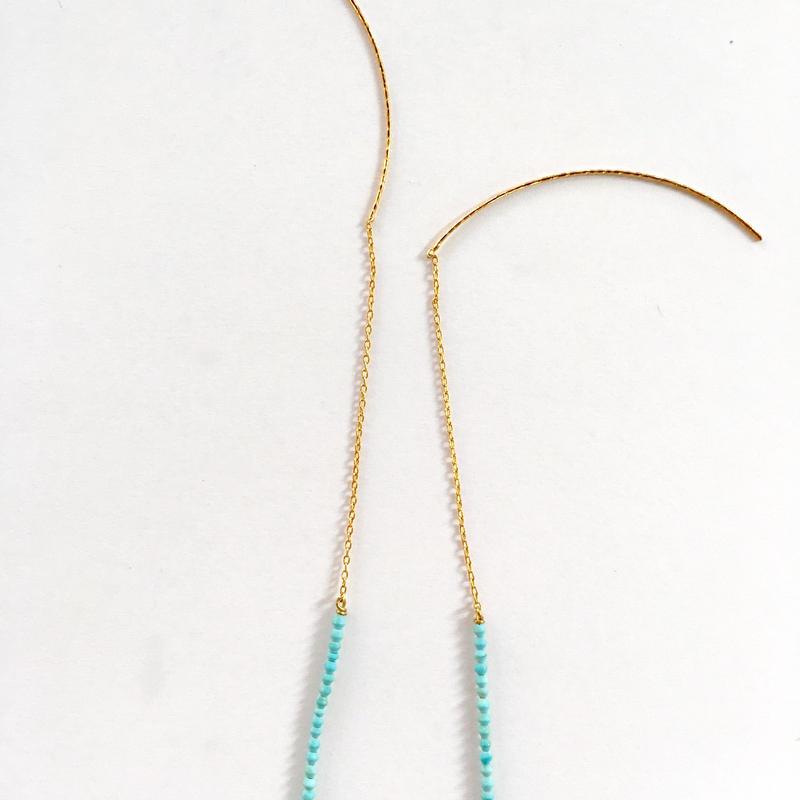 Small beads Tourqouise pierce