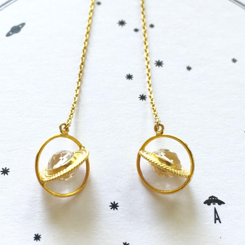 Saturn pierce / earring / Crystal