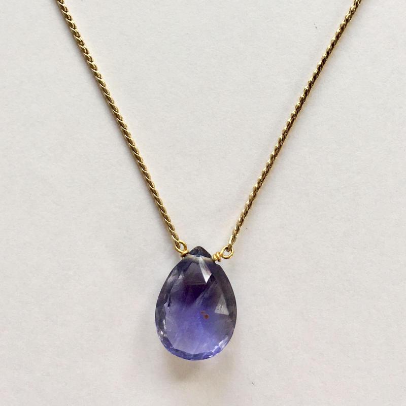 1stone necklace/ iolite