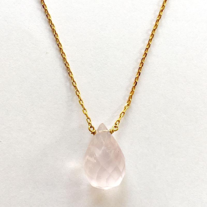 1stone necklace/ rose quartz