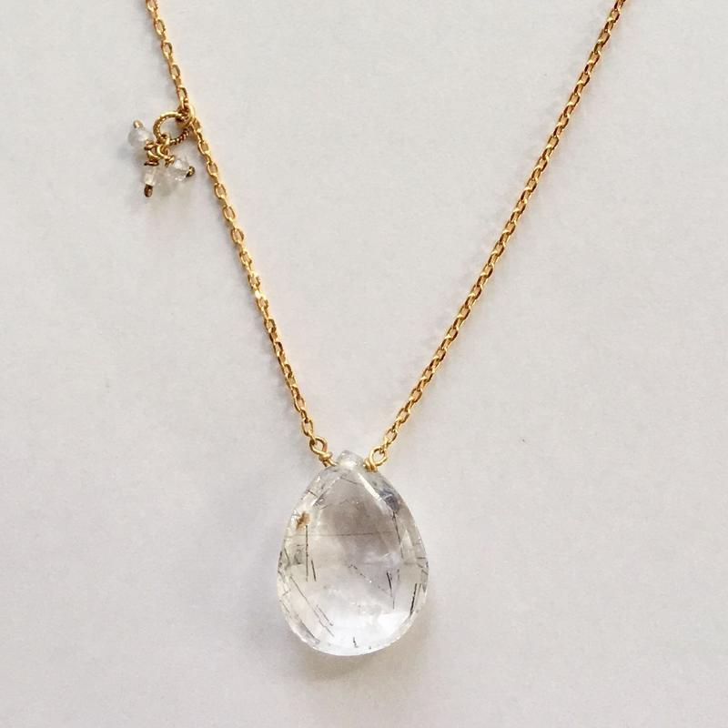 1stone necklace/ Rutile quartz