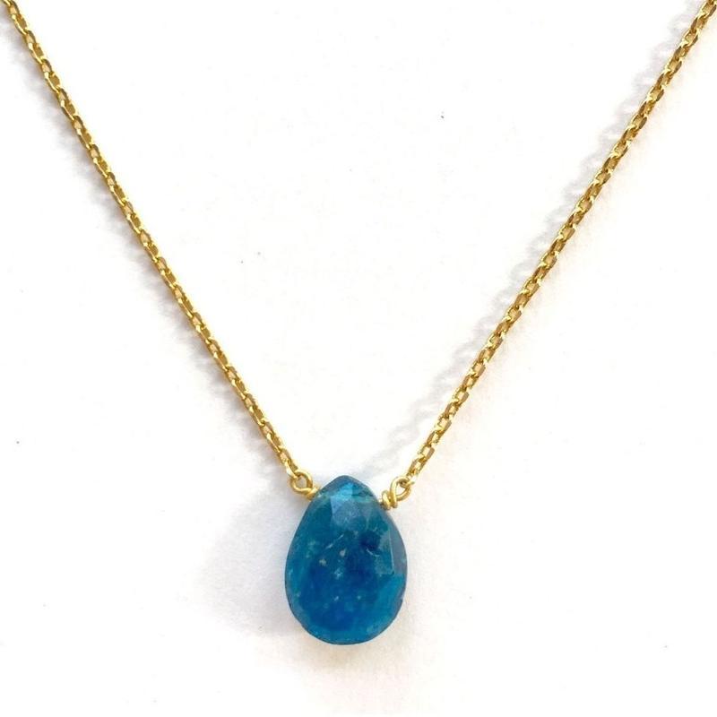 1stone necklace/ Blue appatite