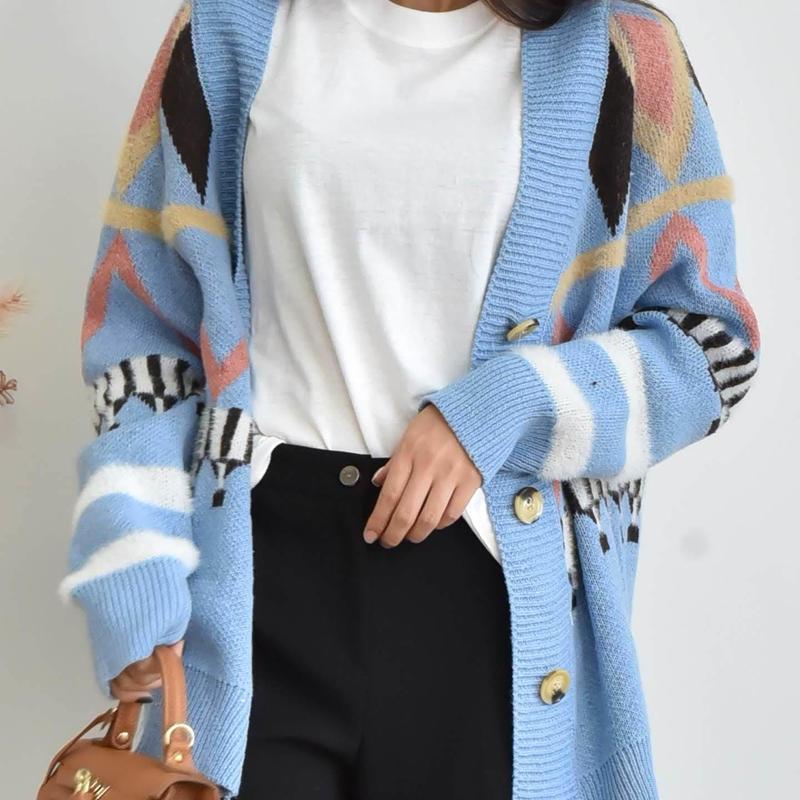 argyle knit cardigan