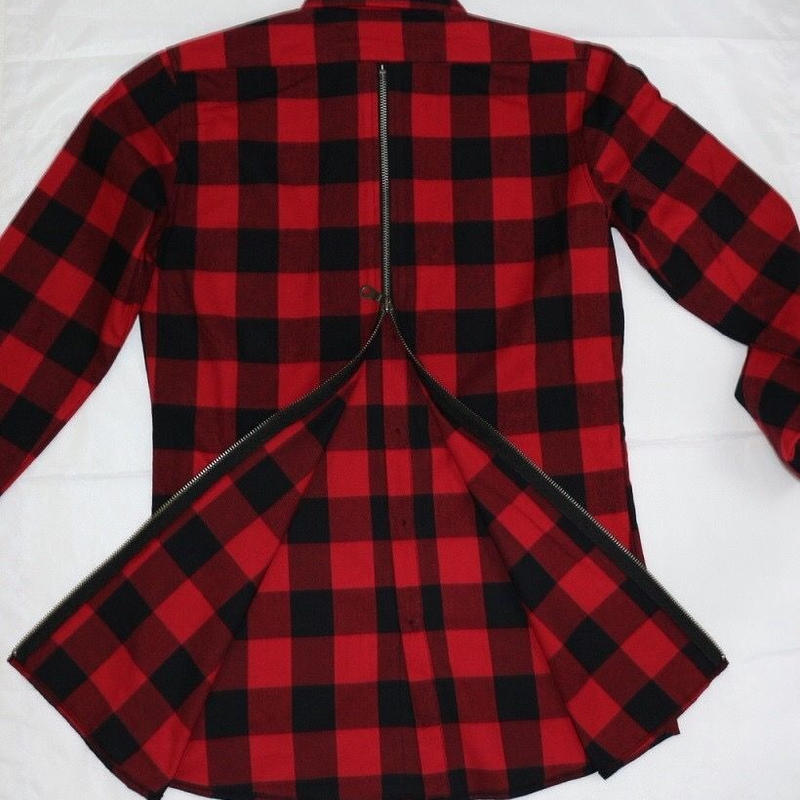 amc バックzip チェックロングシャツ 3色¥9800