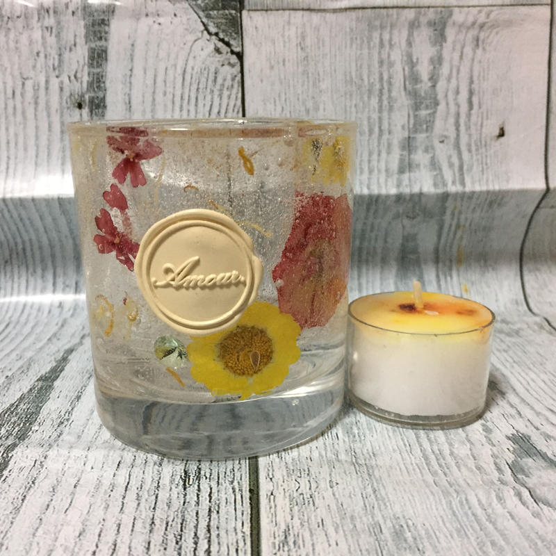 Glass Candle Holder(Snow daisy & Verbena