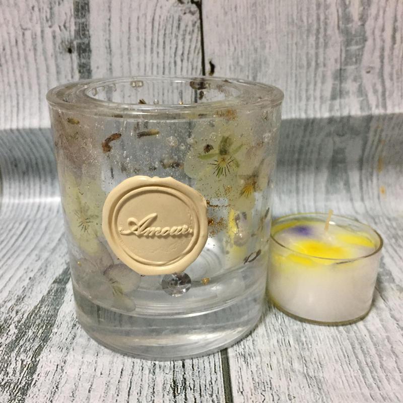 Glass Candle Holder (Viola & Lavender)