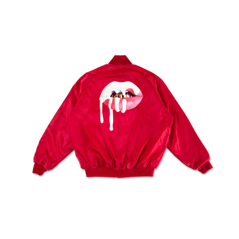 THE KYLIE SHOP LIP SATIN BOMBER JACKET / RED