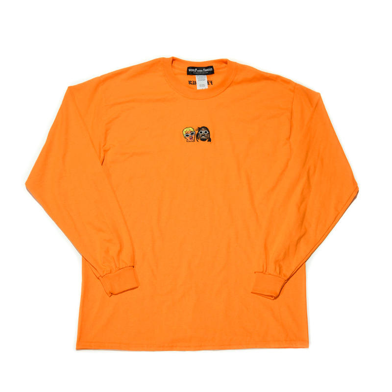 WORLD wide FAMOUS × AMOUR / CARDI OFF SET  LS TEE / ORANGE