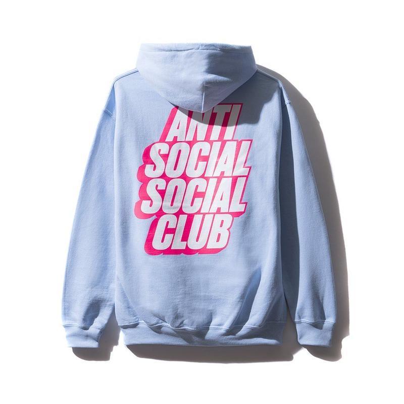 ANTI SOCIAL SOCIAL CLUB BLOCKED LOGO HOODIE / BLUE