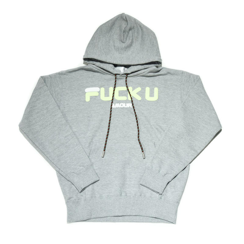 AMOUR / FUCK U AMOUR PULLOVER HOODIE  / GRAY