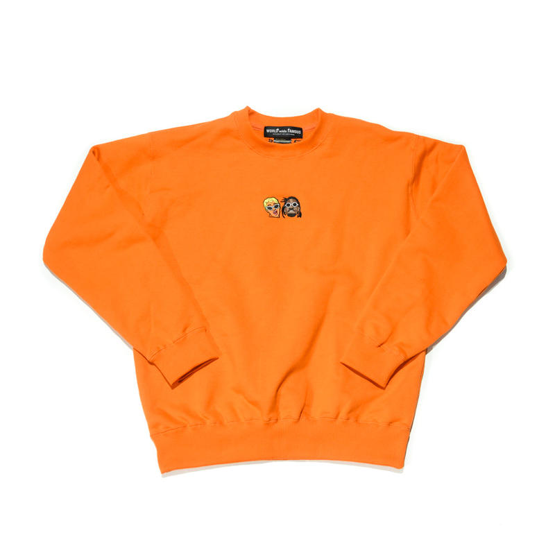 WORLD wide FAMOUS × AMOUR /CARDI  OFF SET CREW NECK / ORANGE