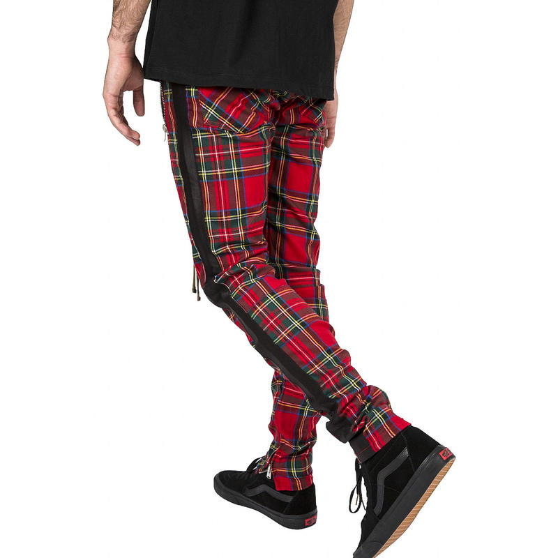 mnml   PLAID TRACK  PANTS /RED