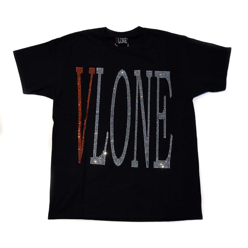 VLONE  RHINESTONE TEE / BLACK _ ORANGE