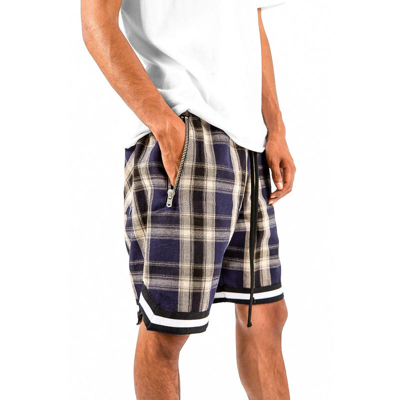 mnml  PLAID BASKETBALL SHORTS / NAVY-NATURAL