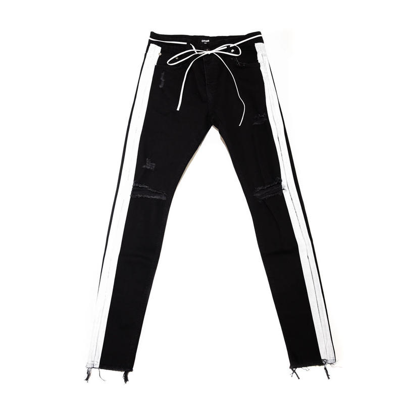 OTHER UK / STRIPE JEANS / BLACK_WHITE